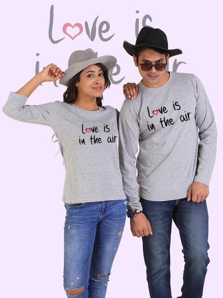 HUM TUM T-SHIRT Love is in the Air Couple Full Sleeves Gray