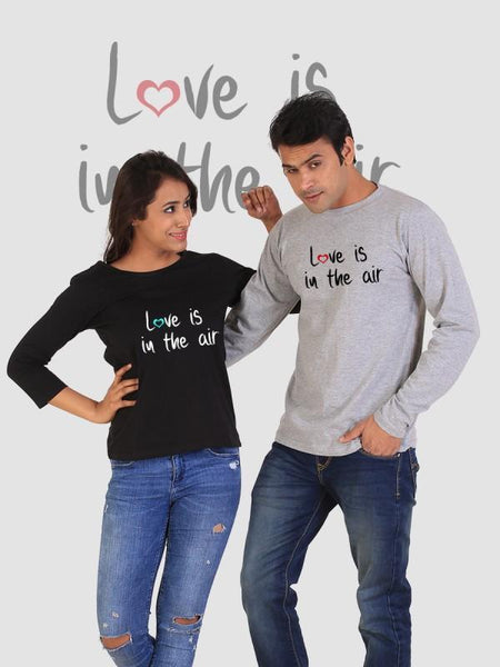 HUM TUM T-SHIRT Love is in the Air Couple Full Sleeves Gray & Black