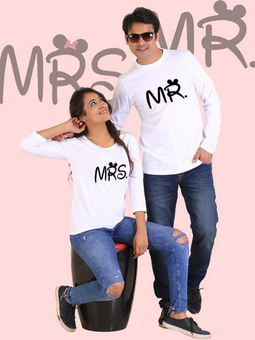 HUM TUM T-SHIRT Mr. and Mrs. Couple Full Sleeves White