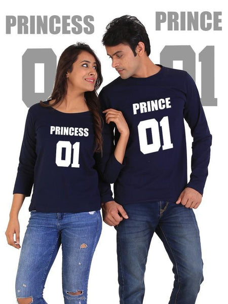 HUM TUM T-SHIRT Prince and Princess Couple Full Sleeves Navy