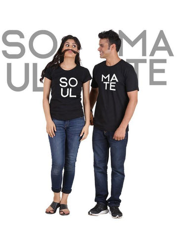 HUM TUM T-SHIRT Soulmate (Classic) Classic Couple T-Shirt Black