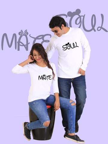 HUM TUM T-SHIRT Soulmate Couple Full Sleeves White