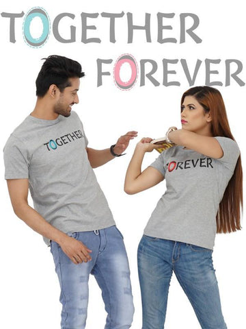 HUM TUM T-SHIRT TOGETHER FOREVER COUPLE Gray T-shirt