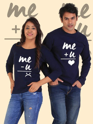 HUM TUM T-SHIRT You + Me = Happiness Couple Full Sleeves Navy