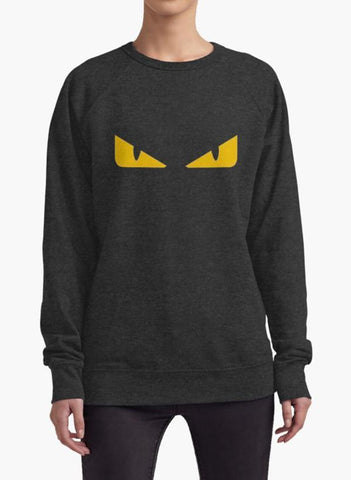 Huma Ijaz Sweat Shirt Fendi monster eye charcoal WOMEN SWEAT SHIRT