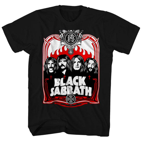 Imported T-SHIRT Red Flames Black Sabbath T-Shirt