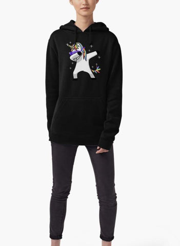 Imtiaz Ali Hoodie Dabbing Unicorn Shirt Dab Hip Hop Funny Magic WOMEN Hoodie BLACK