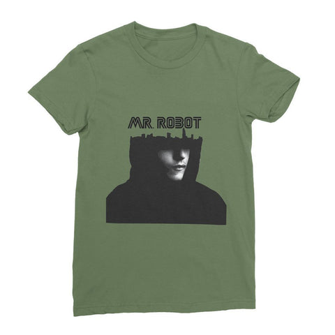 kite.ly Apparel S / Olive Mr Robot Women's Fine Jersey T-Shirt