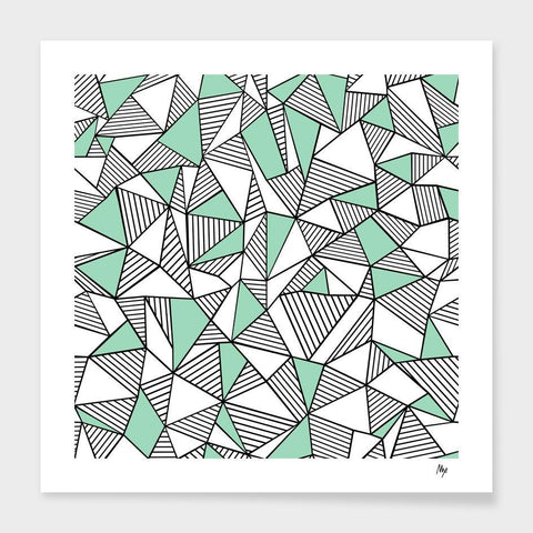 LUVD Framed Art Prints Ab Lines With Mint Blocks  Frame