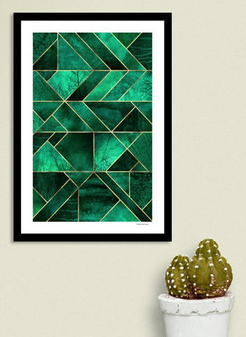 LUVD Framed Art Prints Abstract Nature - Emerald Green  Frame