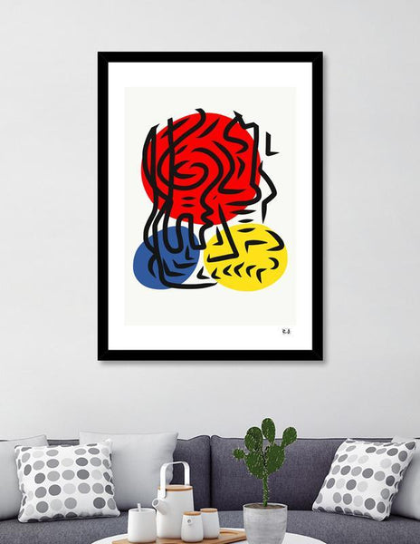 LUVD Framed Art Prints Abstract Street Graphic Red Blue Yellow Art Frame