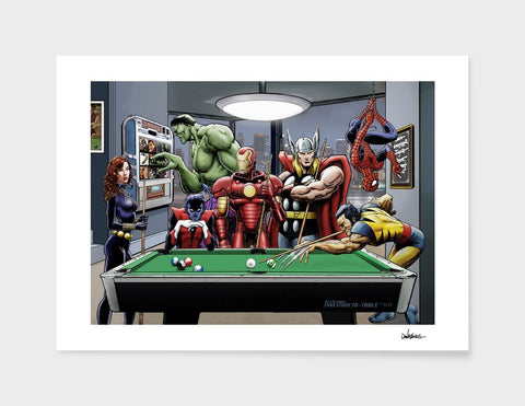 LUVD Framed Art Prints Afterhours Marvel Superheroes Relax Playing Pool   Frame