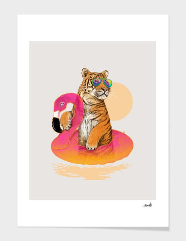 LUVD Framed Art Prints Chillin (Flamingo Tiger)  Frame