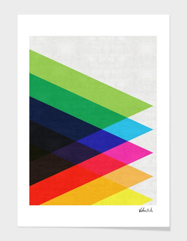 LUVD Framed Art Prints Colorful Triangles  Frame