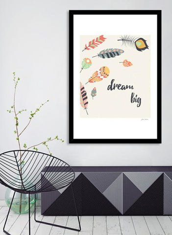 LUVD Framed Art Prints Dream big tribal feathers Frame