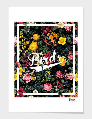 LUVD Framed Art Prints Floral and Birds Pattern Frame
