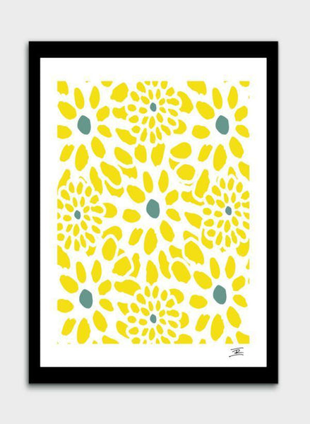LUVD Framed Art Prints Flowers in Yellow  Frame
