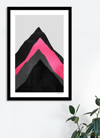 LUVD Framed Art Prints Four Mountains  Pink  Frame