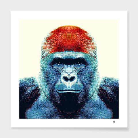 LUVD Framed Art Prints Gorilla - Colorful Animals Frame