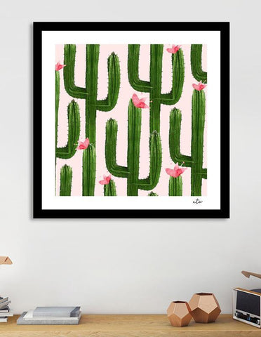 LUVD Framed Art Prints Happy Cacti Frame
