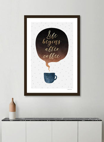 LUVD Framed Art Prints Life begins after coffee  Frame
