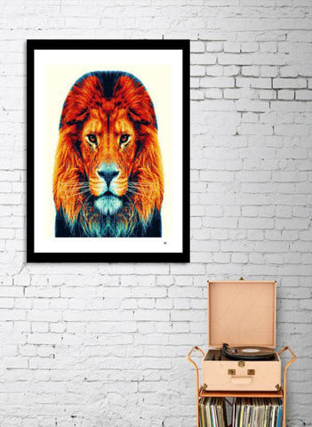 LUVD Framed Art Prints Lion - Colorful Animals  Frame