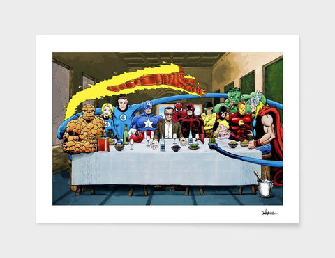 LUVD Framed Art Prints Marvel Stan Lees Super Supper   Frame