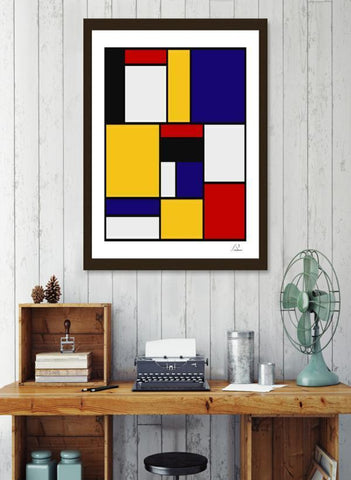 LUVD Framed Art Prints Mondrian De Stijl Art Movement Frame