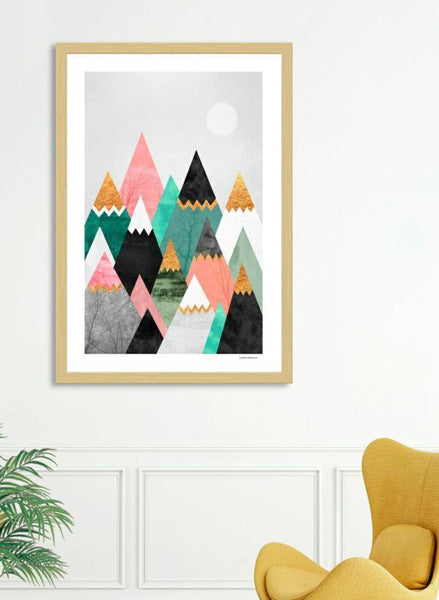 LUVD Framed Art Prints Pretty Mountains  Frame