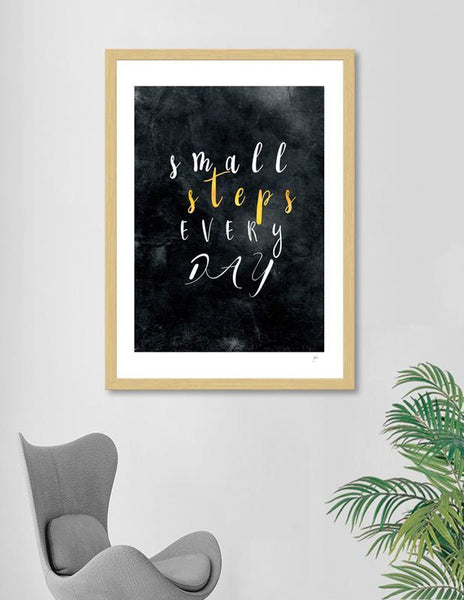 LUVD Framed Art Prints Small Steps Every Day #motivation #quotes Frame