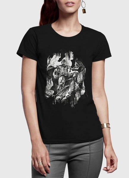 M Nidal Khan T-shirt Batman Half Sleeves Women Black Tshirt