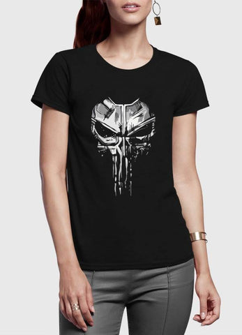 M Nidal Khan T-shirt Skull Half Sleeves Women Black T-shirt