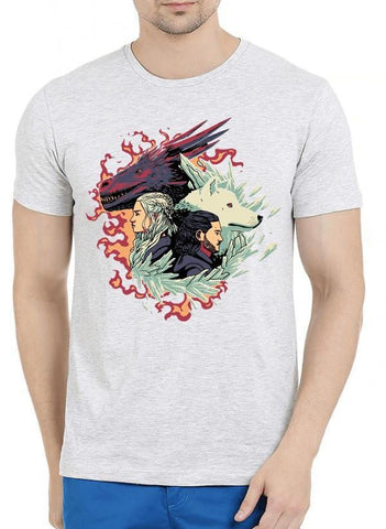 M Nidal Khan T-shirt SMALL / Offwhite Fire and Ice GOT Half Sleeves Melange T-shirt