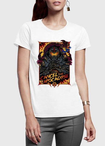 M Nidal Khan T-shirt SMALL / White Cancel the Apocalypse Half Sleeves Women T-shirt