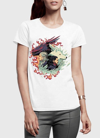 M Nidal Khan T-shirt SMALL / White Fire and Ice GOT Half Sleeves Women T-shirt