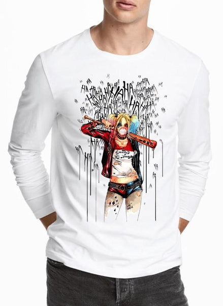 M Nidal Khan T-shirt SMALL / White Harley Laugh Full Sleeves T-shirt