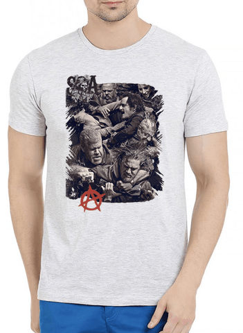 M Nidal Khan T-shirt Sons on Anarchy Half Sleeves Melange T-shirt