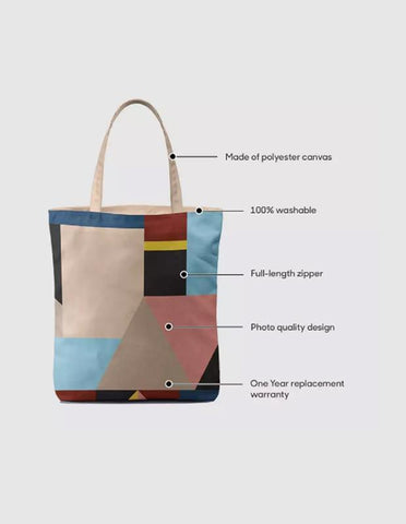 Manahil tote bag Mindscape Pink Yellow And Green Pattern Baesic Tote Bag