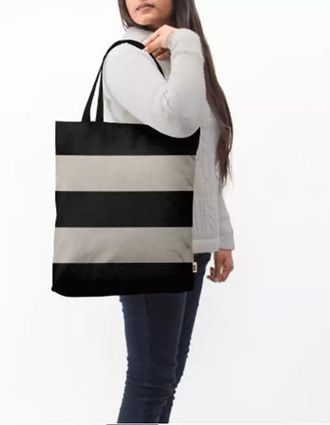 Manahil tote bag Vintage Black Stripes Baesic Tote Bag