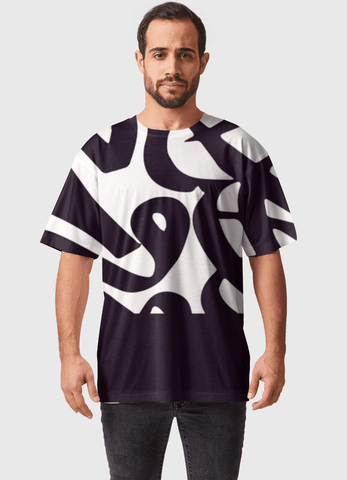 Naheed T-SHIRT B&W LINE ALL OVER PRINTED MEN T-SHIRTS