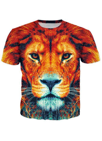Naheed T-SHIRT BROWN TIGER ALL OVER PRINTED MEN T-SHIRTS