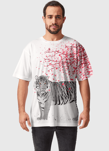 Naheed T-SHIRT CHERRY TREE TIGER ALL OVER PRINTED MEN T-SHIRTS