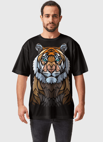 Naheed T-SHIRT TRIBAL FRONTAL TIGER  ALL OVER PRINTED MEN T-SHIRTS