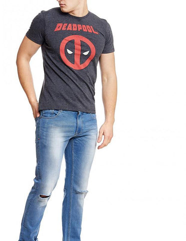Ramsha T-SHIRT Deadpool Smart Mouthed Grey Half Sleeve Men T-Shirt
