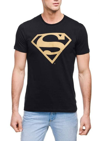Ramsha T-SHIRT Superman Super Gold Black Half Sleeve Men T-Shirt