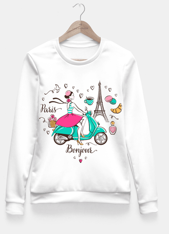 Sadaf Hamid Sweat Shirt Bonjour, Paris Fitted Waist Sweater