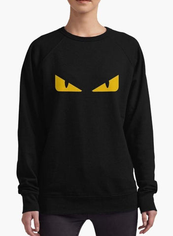 Sadaf Hamid Sweat Shirt Fendi monster eye Black WOMEN SWEAT SHIRT