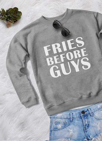Sadaf Hamid Sweat Shirt FRIES BEFORE GUYS WOMEN PRINTED SWEAT SHIRT