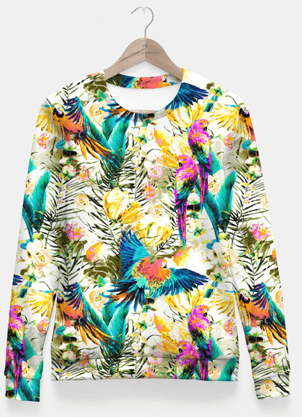Sadaf Hamid Sweat Shirt Jungle of fruit with tropical parrots Sudadera entallada