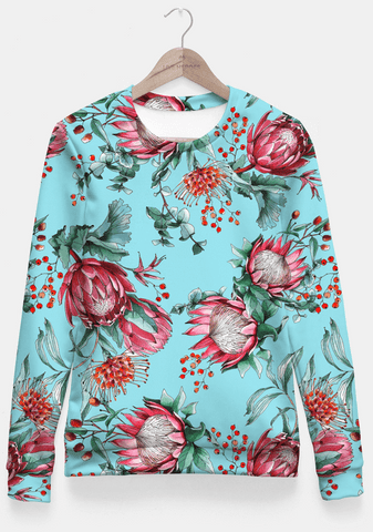 Sadaf Hamid Sweat Shirt King protea flowers watercolor illustration Fitted Waist Sweater Women